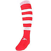 Precision Training Hooped Pro Football Socks - Red & White