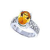 QP Jewellers Diamond & Citrine Renaissance Ring in 14K White Gold
