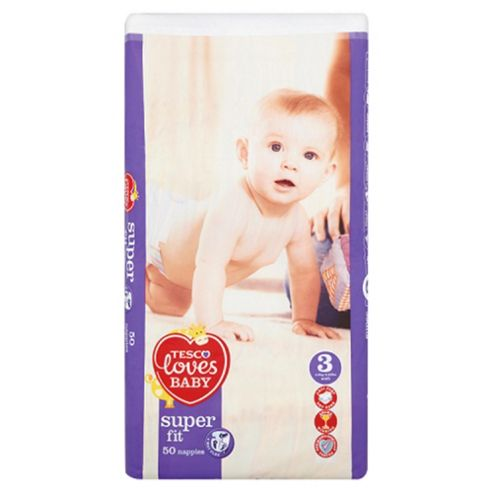Tesco Loves Baby Super Fit Size 3 Midi Economy Pack - 50 Nappies