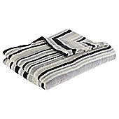 Tonal Stripe Black Printed Fleece Blanket