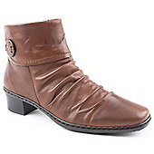 Rieker Ladies Kendra Brown Leather Ankle Boots - Brown