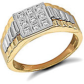 Jewelco London 9ct Solid gold men's CZ set cluster Ring