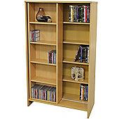 Slide - Large Media Storage Bookcase / Display Shelves - Beech