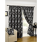 Constance Lined Pencil Pleat Curtains Black & Silver - 46x54 Inches
