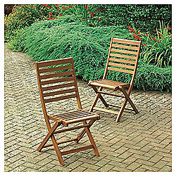 Windsor Wooden Folding Garden Dining Chair, 2 Pack