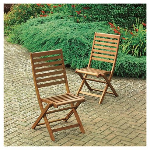Windsor Wooden Folding Garden Dining Chair - 2 Pack