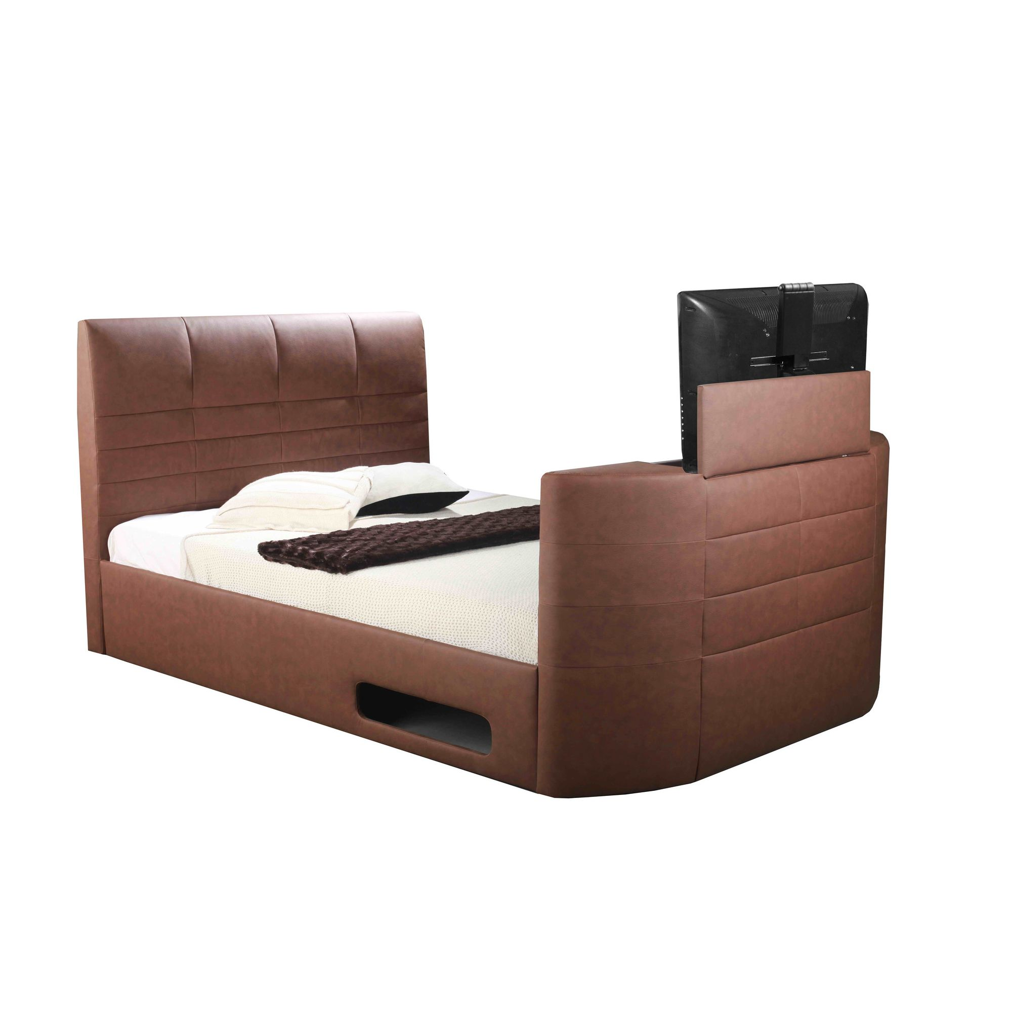 Altruna Miami Electric Wireless TV Bed - Double - Chocolate Brown - Without Ottoman at Tesco Direct