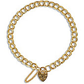 Jewelco London 9ct Solid Gold traditional Double Curb Charm Bracelet - heart padlock - 5.5mm Guage