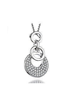 REAL Effect Rhodium Plated Sterling Silver white Cubic Zirconia Complex Circles Charm Pendant - 16/18 inch
