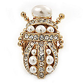 Clear Crystal/ Simulated Pearl Egyptian 'Scarab' Beetle Brooch In Gold Plating - 4.5cm Length