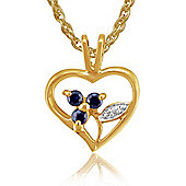 Gemondo 9ct Yellow Gold 0.15ct Sapphire Heart Pendant on Chain