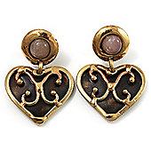 Flowering Heart Brass Earrings