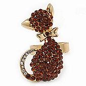 Gold Plated Amber Coloured Swarovski Crystal 'Kittie' Ring - 35mm Length - Adjustable - Size 7/8