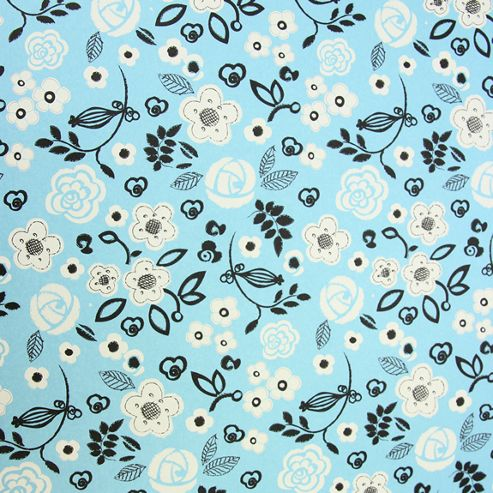 Rosehip Gift Wrap - Blue/White Flowers