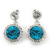 Round Azure/Clear Crystal Stud Earring In Silver Metal - 2.5cm Drop