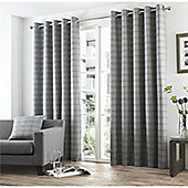 Curtina Braemar Check Charcoal Eyelet Lined Curtains - 66x90 Inches