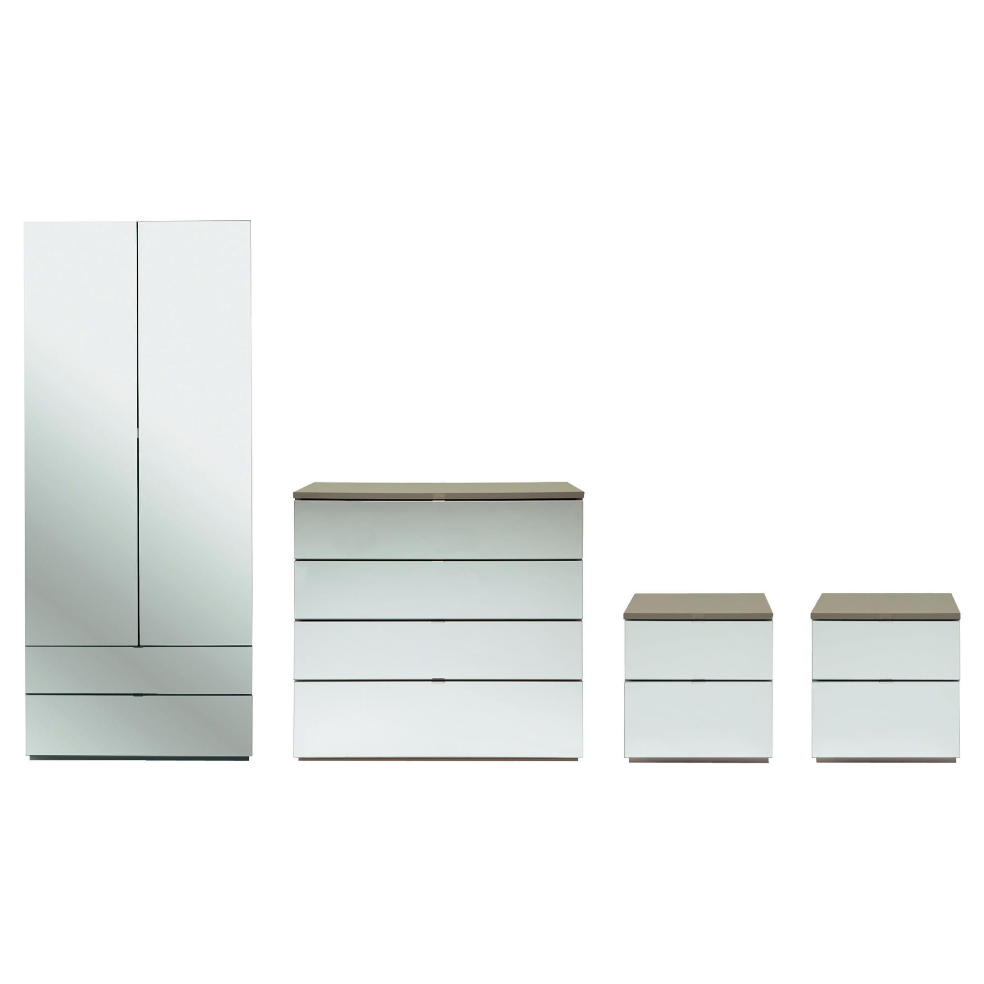 Palermo Package 3 Taupe (Wardrobe, 2 x Bedside, 4 Drawer Chest)-Mirrored at Tesco Direct