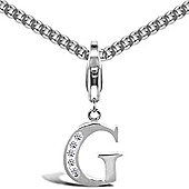 Jewelco London Sterling Silver Cubic Zirconia Identity Pendant - Initial G - 18inch Chain