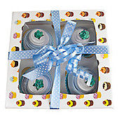 Box of Four Delicious Baby Sock Cupcakes - Blue