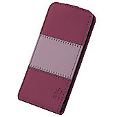 Tortoise™ Look Faux Leather Flip Case, iPhone 5/5S. Pink with Light Pink Strip