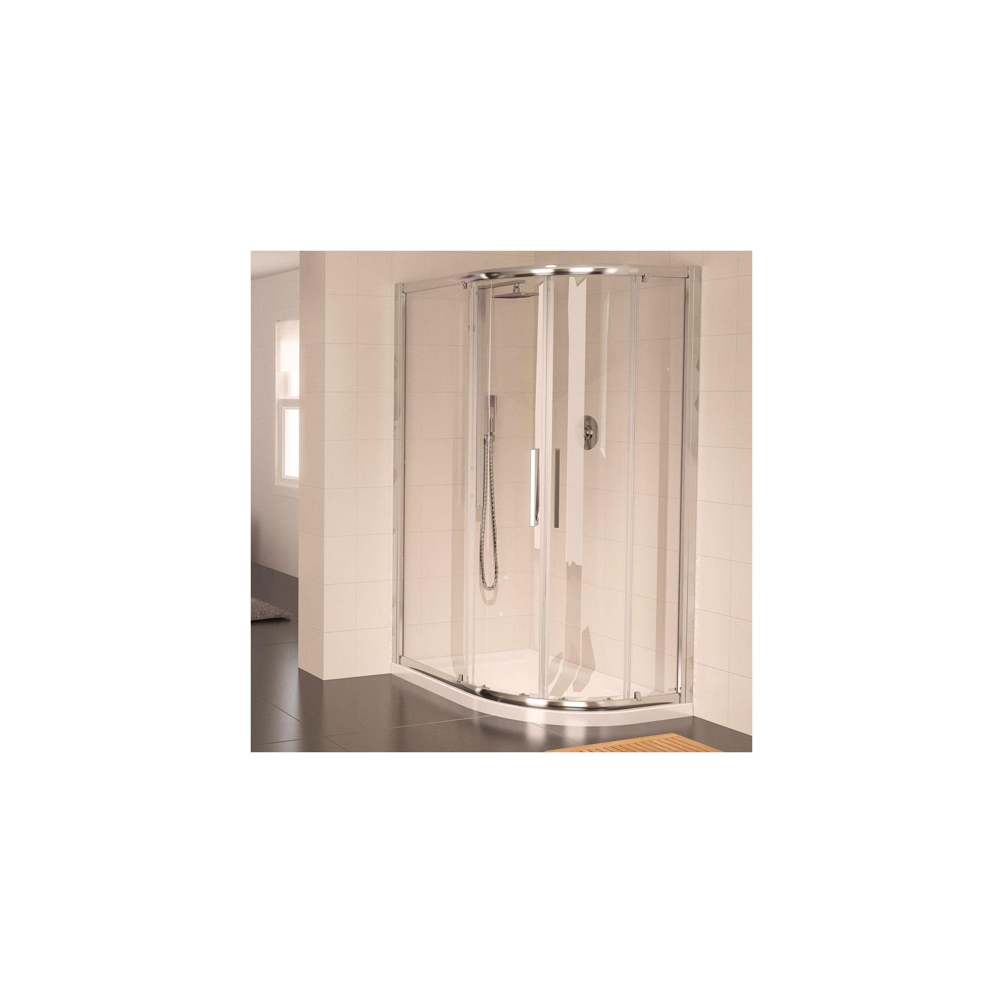 Aqualux AQUA8 Glide Offset Quadrant Shower Door, 1200mm x 900mm, Polished Silver Frame, 8mm Glass at Tesco Direct