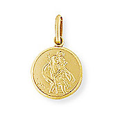 Jewelco London 9ct Yellow Gold - Round St. Christopher Medallion Charm Pendant -