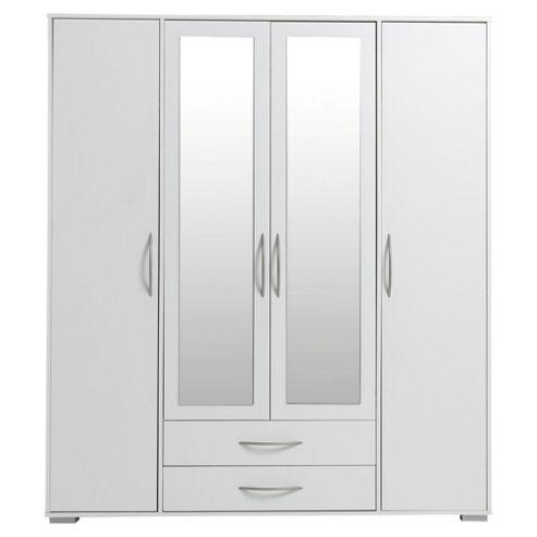 Newport 4 Door 2 Drawer Wardrobe With Mirror White