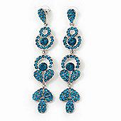 Long Luxury Teal Swarovski Crystal Drop Earrings In Rhodium Plating - Length 9cm