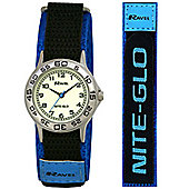 Boys Blue Nite-Glo Velcro Strap Watch