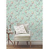 Chinoiserie Bird Wallpaper - Teal - FD40768