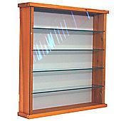 Solid Wood 4 Shelf Glass Wall Display Cabinet - Pine