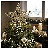 Gold Glitter and Bead Christmas Tree Topper