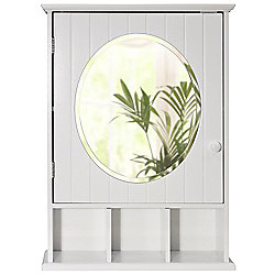 New England - Mirrored Bathroom Wall Cabinet - White