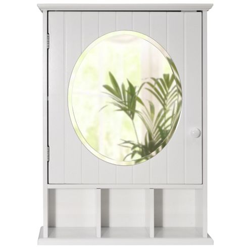 Buy new england mirrored bathroom wall cabinet white for Bathroom cabinets tesco