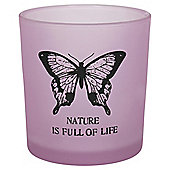Frosted Butterfly Tealight Holder Small Pink