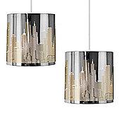 Pair of New York Skyline Ceiling Pendant Light Shades in Chrome