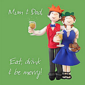 Holy Mackerel Happy Christmas Mum and Dad. Eat Drink and Be Merry Greetings Card