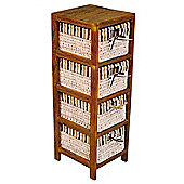 Hansen Rattan Shelf Unit - Dark Wood