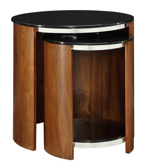 Buy Jual JF305 Walnut Glass Shelved Nest Of Tables From