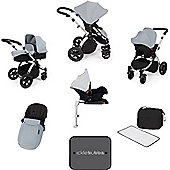 Ickle Bubba Stomp v3 AIO Travel System + Isofix Base + Mosquito Net - Silver (Silver Chassis)