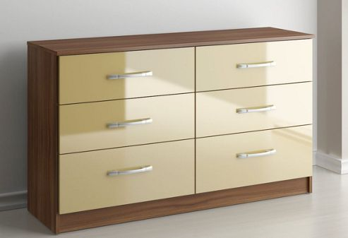 Birlea Lynx Six Drawer Chest - Cream and Walnut