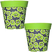 2 x 22cm Green Floral Plastic Garden Planter 5L Flowerpot by Hum