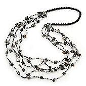 Long Multistrand Black/ White Shell/ Glass Bead Necklace - 84cm Length