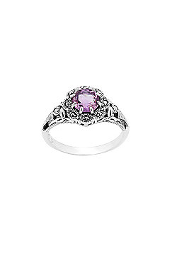 Gemondo Sterling Silver 0.6ct Amethyst & Marcasite Ring