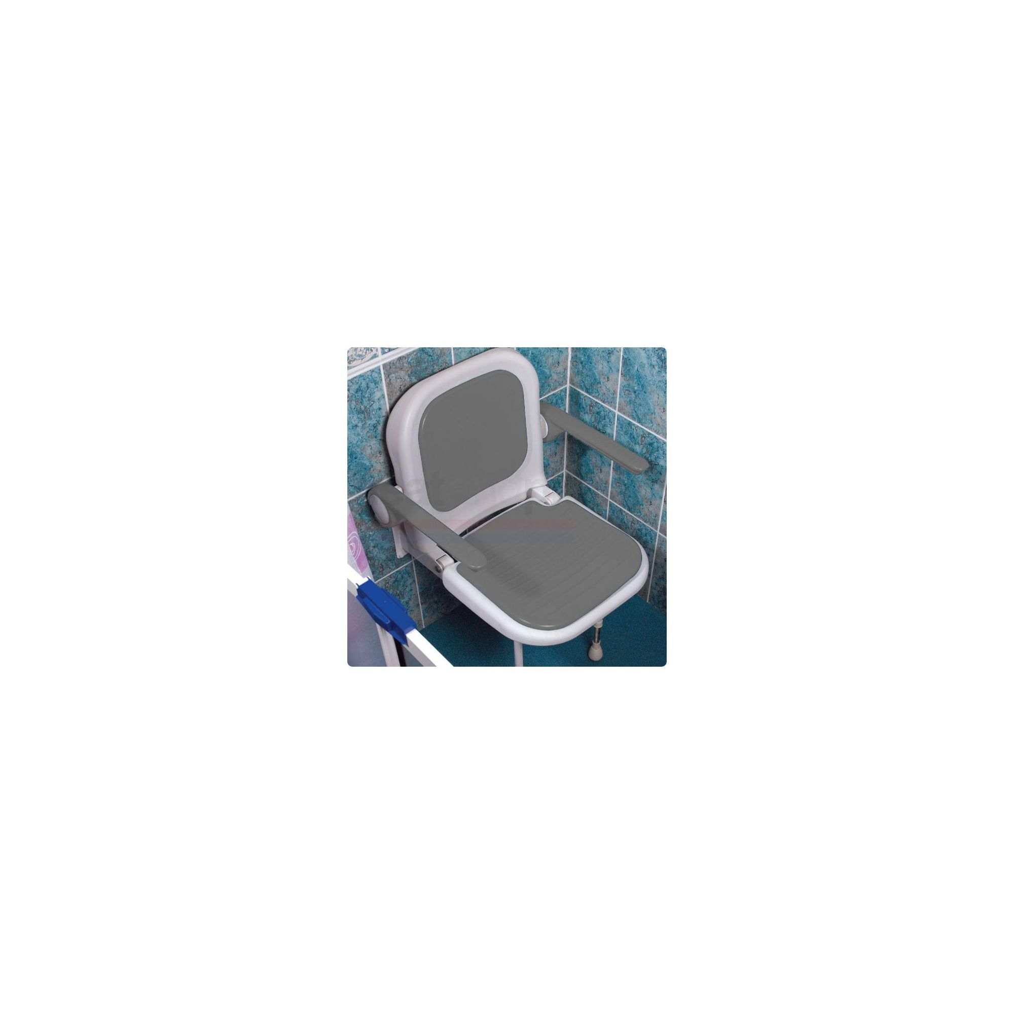 AKW 4000 Series Standard Fold Up Shower Seat Grey with Back and Grey Arms at Tesco Direct