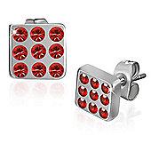 Urban Male Stainless Steel 6mm Red CZ Stud Earrings For Men
