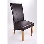 Shankar Enterprises Marseille Madras Leather Dining Chair (Set of 2) - Chocolate