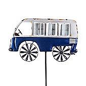 Dark Blue Metal Campervan Feature Garden Windmill Ornament