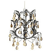 Knole Metal and Glass Effect Pendant Shade Antique Brass and Cognac Large