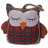 Puckator Cute Red Tartan Sleepy Owl Shaped Doorstop